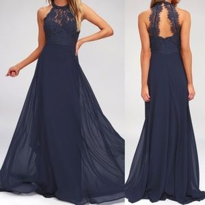 NWT Lulu's Dance All Evening Navy Blue Maxi Dress